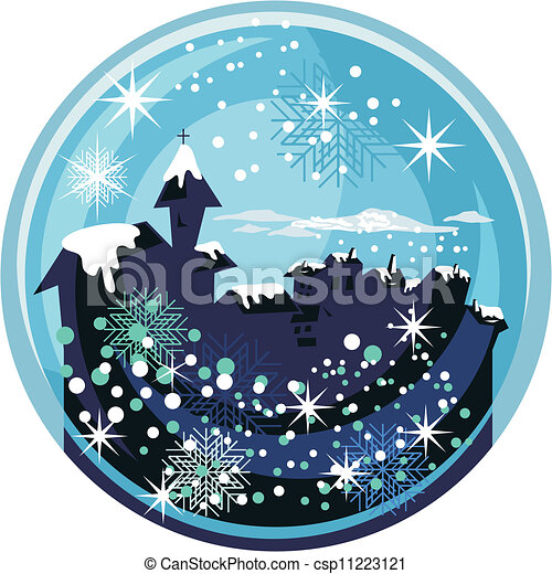 Vector Clip Art of Christmas Snow Globe - Christmas snow globe ...