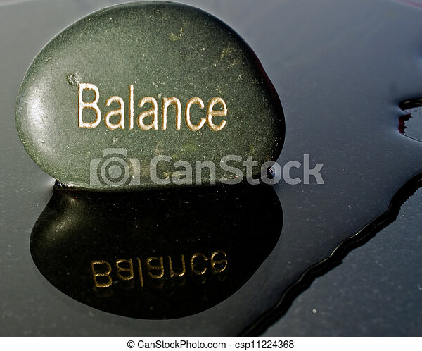 Rock written with the word balance - csp11224368