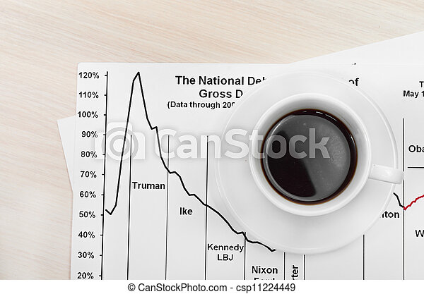 Accounting. Cup of coffee on document. chart and diagram - csp11224449