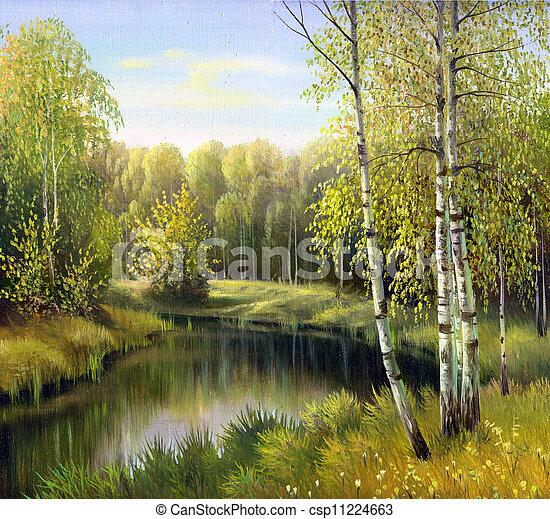 otoño, paisaje, aceite, lona - csp11224663