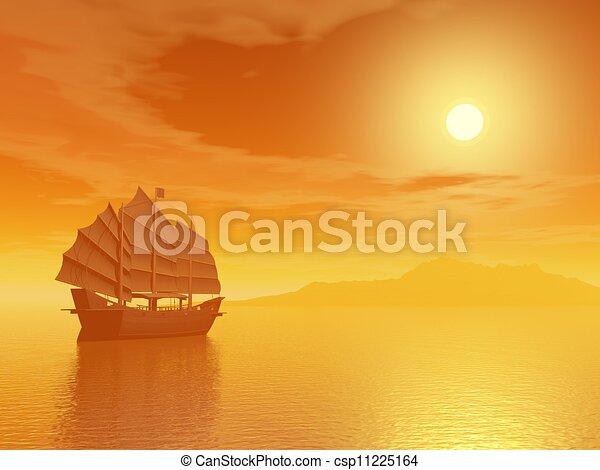 Oriental junk by sunset - csp11225164