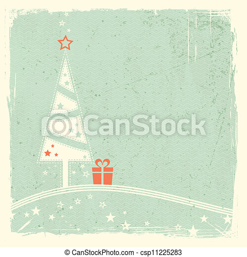 Christmas tree with present and stars - csp11225283