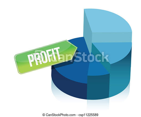 profit pie chart illustration over  - csp11225589