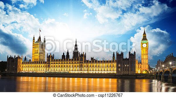 議會,  Ben, 黃昏, 房子,  -, 國際, 倫敦, 英國, 大, 界標, 英國, 河,  thames - csp11226767