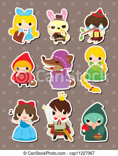 cartoon story people stickers - csp11227067