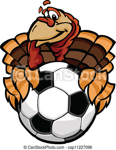 Cartoon Vector Image of a Happy Thanksgiving Holiday Soccer Turkey Holding a Soccer Ball - csp11227096