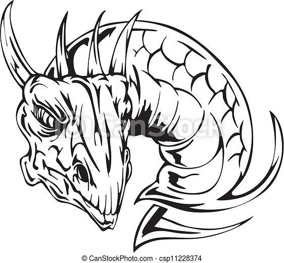 Illustrations Vectorises De Tatouage Tte Dragon
