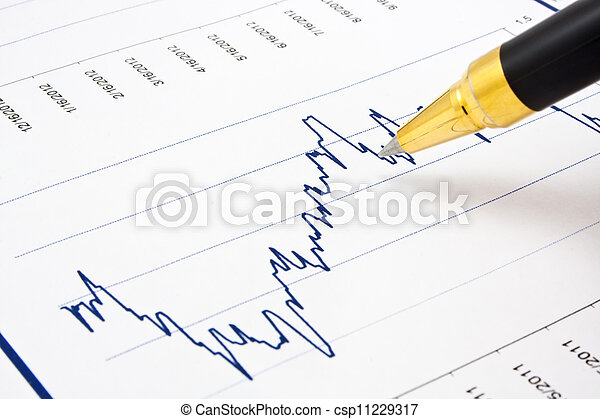 Business background, financial chart with ballpoint pen - csp11229317