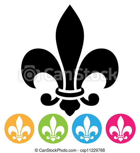 Clip Art Vector of fleur de lis symbol isolated on white ...