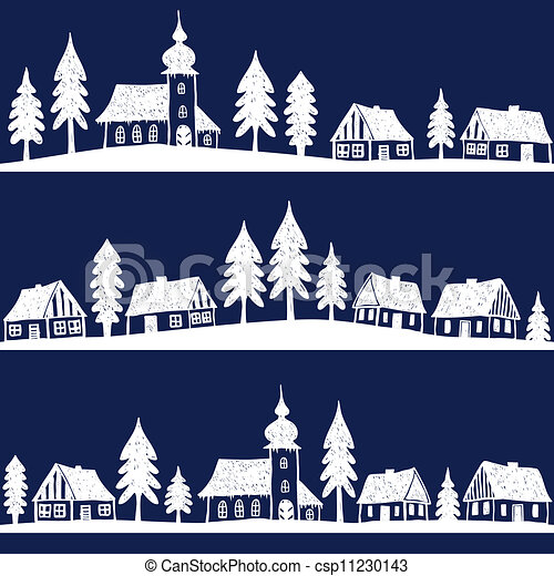 Christmas village with church seamless pattern - hand drawn illustration - csp11230143