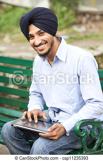 Young adult indian sikh man - csp11235393