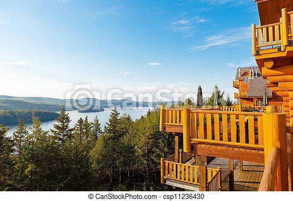 sacacomie hotel lake in quebec canada - csp11236430