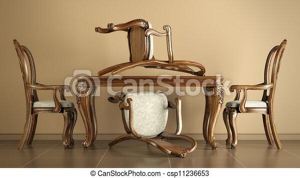 Stock illustraties van antieke stoelen tafel reproductie het dineren set csp11236653 - Tafel en stoelen dineren ...