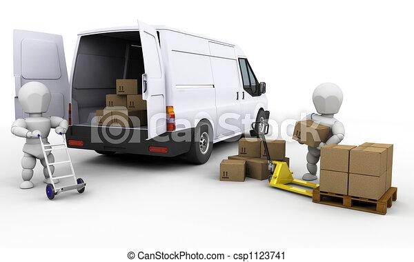 Unloading a van - csp1123741