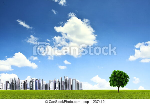 Green environment background with a straight horizon lines of grass field , a lonely tree and distant futuristic city. You can use this image for environmental friendly product background - csp11237412