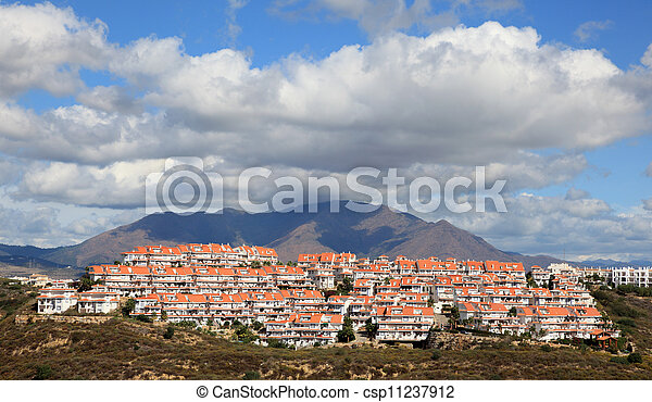 Residential buildings on the Costa del Sol, Andalusia Spain - csp11237912