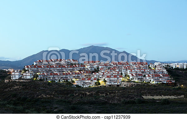 Residential buildings at the Costa del Sol in Andalusia, Southern Spain - csp11237939