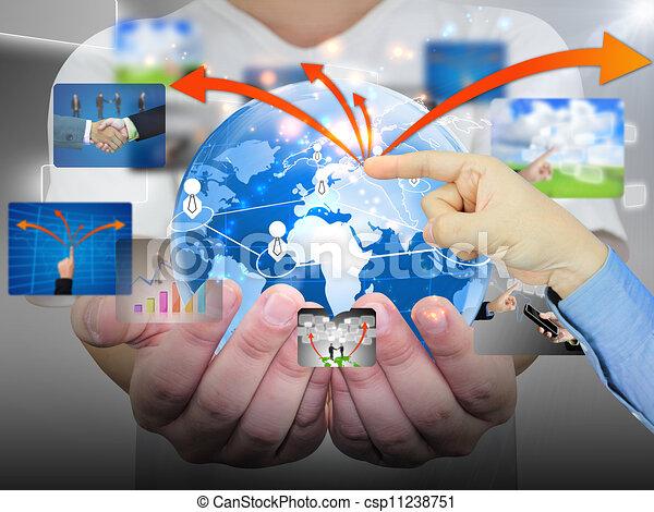 hand pushing business communication  - csp11238751