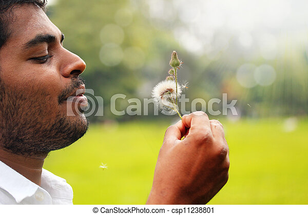 Close-up photo playful, free indian man blowing dandelion flower in a park with bright summer sunshine and lush green grass in the background. This picture represents concept of freedom - csp11238801