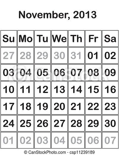 Vector of month November 2013 Calendar csp11239189 ...