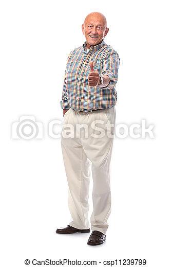 happy senior man shows thumbs up - csp11239799