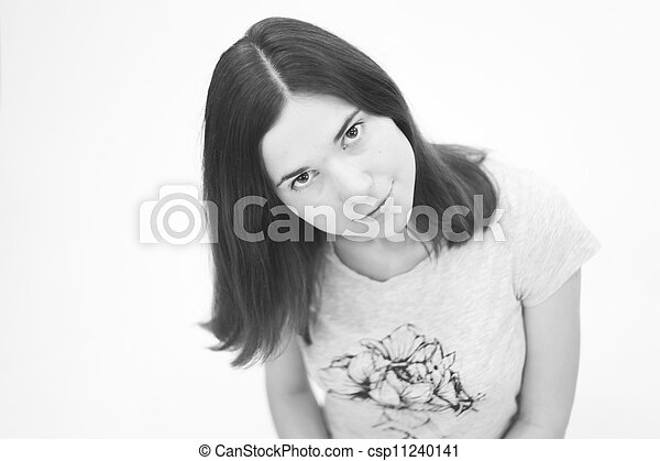 Black and white portrait  of beautiful young woman - csp11240141