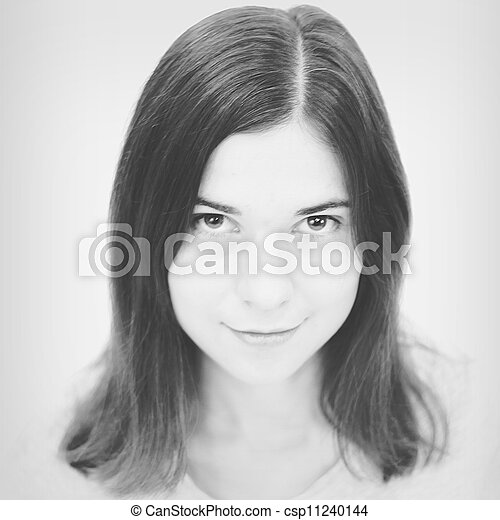 Black and white portrait  of beautiful young woman - csp11240144