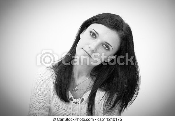 Black and white portrait  of beautiful young woman - csp11240175