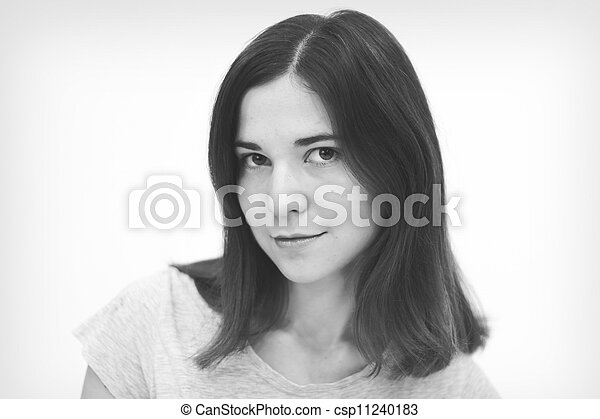 Black and white portrait  of beautiful young woman - csp11240183