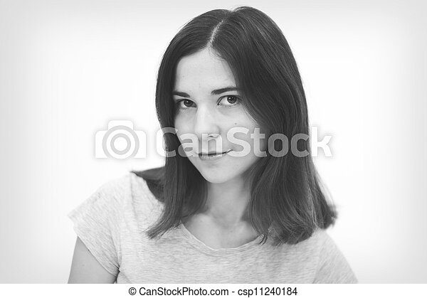 Black and white portrait  of beautiful young woman - csp11240184