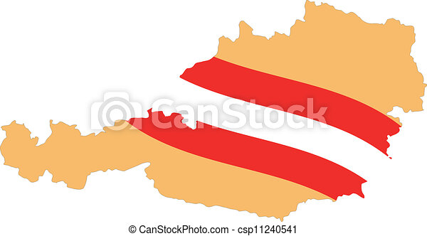 Map and Flag of Austria Vector EPS - csp11240541