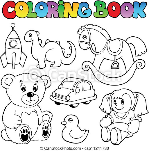 Coloring book toys theme 1 - csp11241730