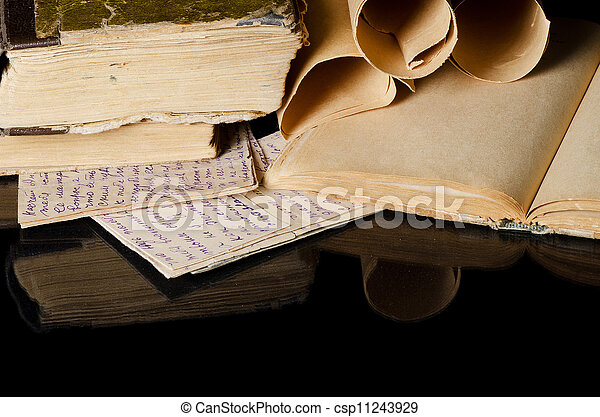 Many ancient scrolls on old letters