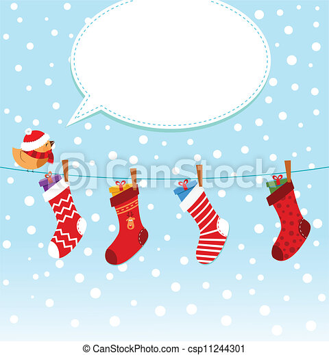 Socks - Cute girl with christmas socks. csp11244301 - Search Clip Art ...