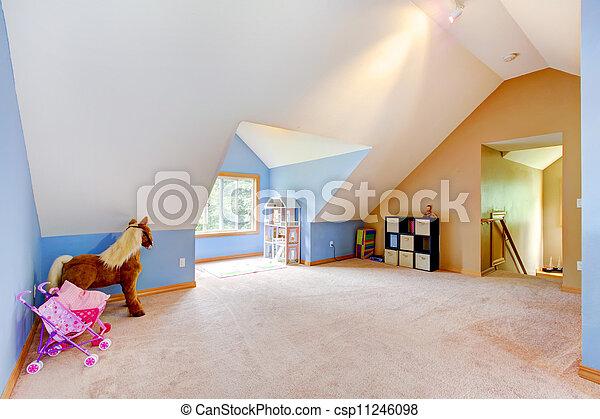 azul, vivendo, jogo, sala, sótão,  Área, brinquedos - csp11246098