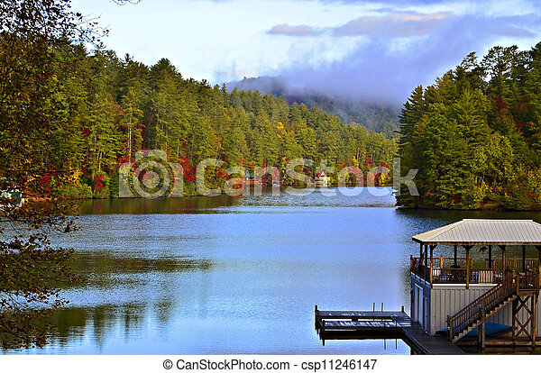 autunno, lago, mattina - csp11246147