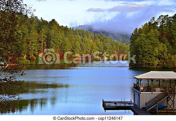 Autumn Morning on the Lake - csp11246147