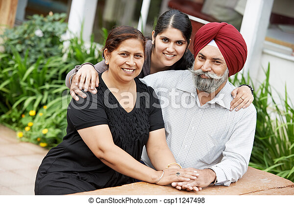 Happy indian adult people family - csp11247498