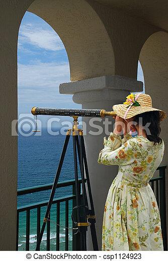 Girl, Telescope, Arc - csp1124923