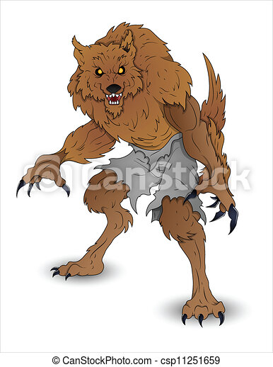 Clipart Vector of Halloween Werewolf Illustration - Creative ...