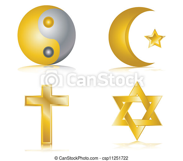 Four gold glossy icons religion - csp11251722