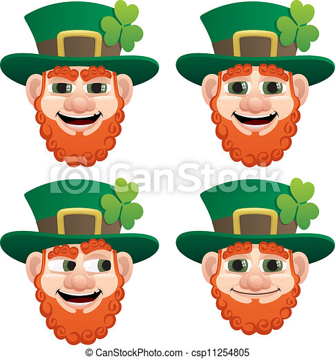 Vector Clipart of Leprechaun Head - Leprechaun head in 4 different ...