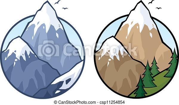 Vecteur Clipart de montagne, 2, versions, non, transparence, utilisé ...