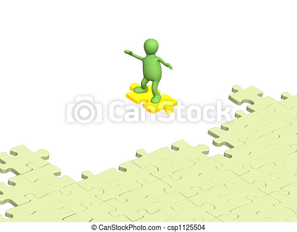 3d person puppet sliding on slice puzzle - csp1125504