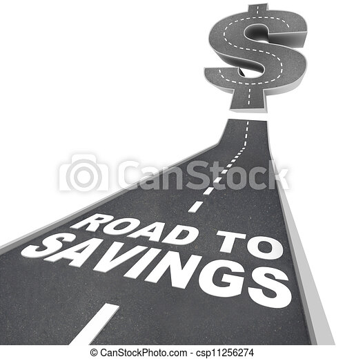 Road to Savings Dollar Sign Save Money Find Discounts Sale - csp11256274