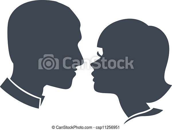 man and woman face silhouette  - csp11256951