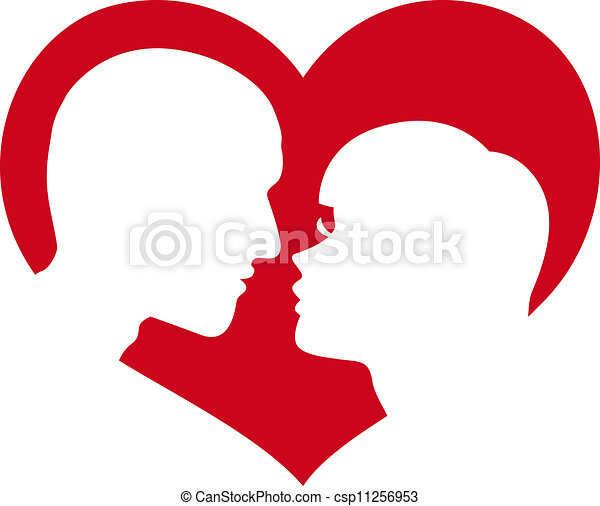 man and woman silhouette in heart - csp11256953