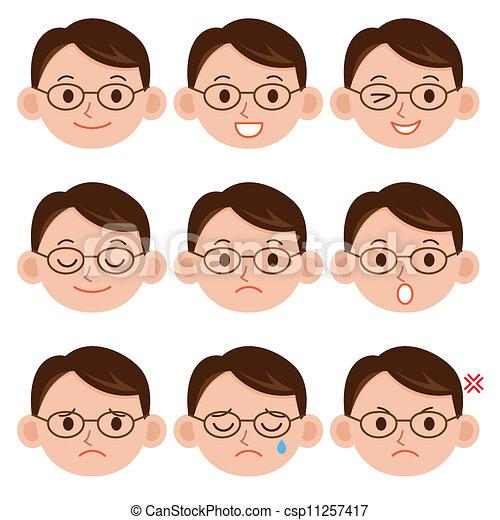 Clipart of A young man emotions - joy, sadness, hurt, shock, joy ...