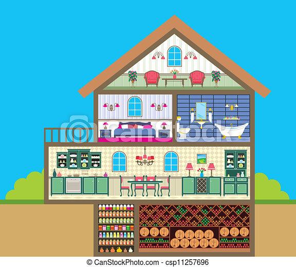 Eps vektoren von haus schnitt vektor abbildung ihm for How can design my house