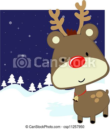 cute baby deer winter background - csp11257950